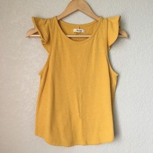 Madewell Mustard Yellow Ruffle Sleeve Top